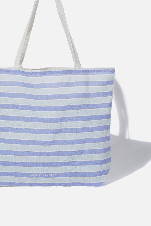 Supre Foundation Tote Bag, COOL TONE STRIPE