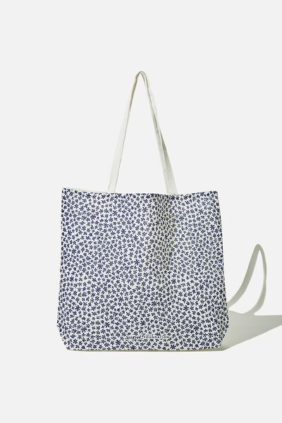 Supre Foundation Tote Bag, NAVY DITSY FLORAL