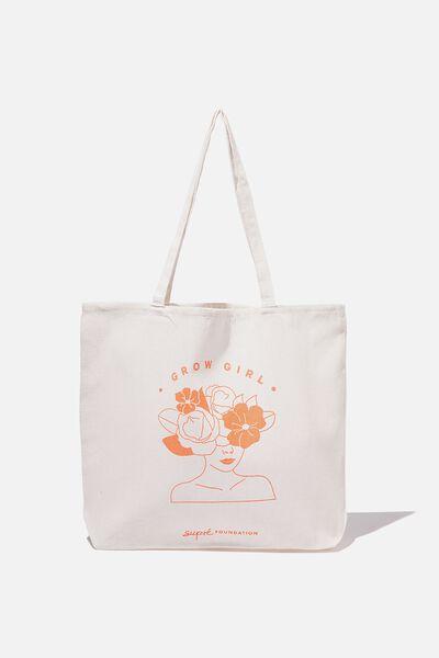 Supre Foundation Tote Bag, GROW GIRL