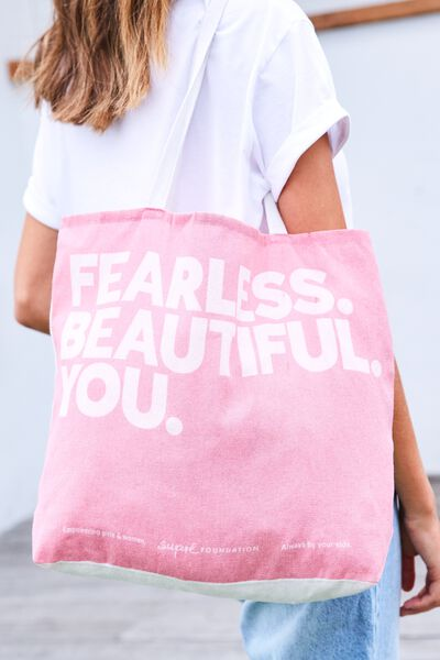 Supre Foundation Tote Bag, FEARLESS BEAUTIFUL YOU