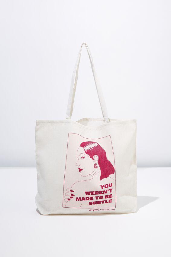 Supre Foundation Tote Bag, SUBTLE