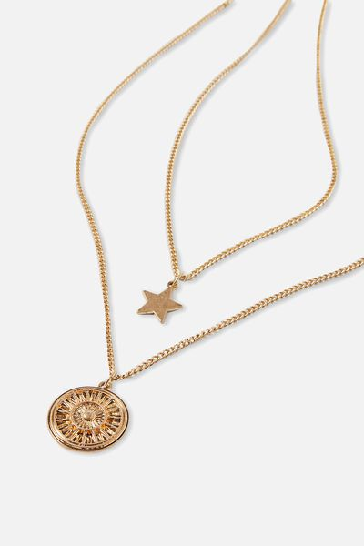 Foundation Layered Necklace Set, GOLD STAR