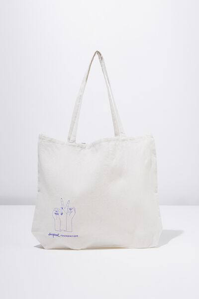 Supre Foundation Tote Bag, PEACE HANDS