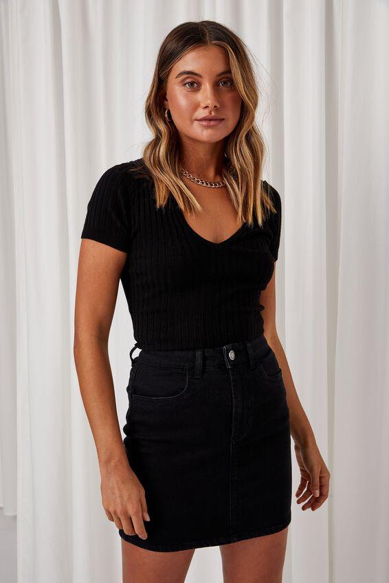 Clara Stretch Denim Mini Skirt, BLACK