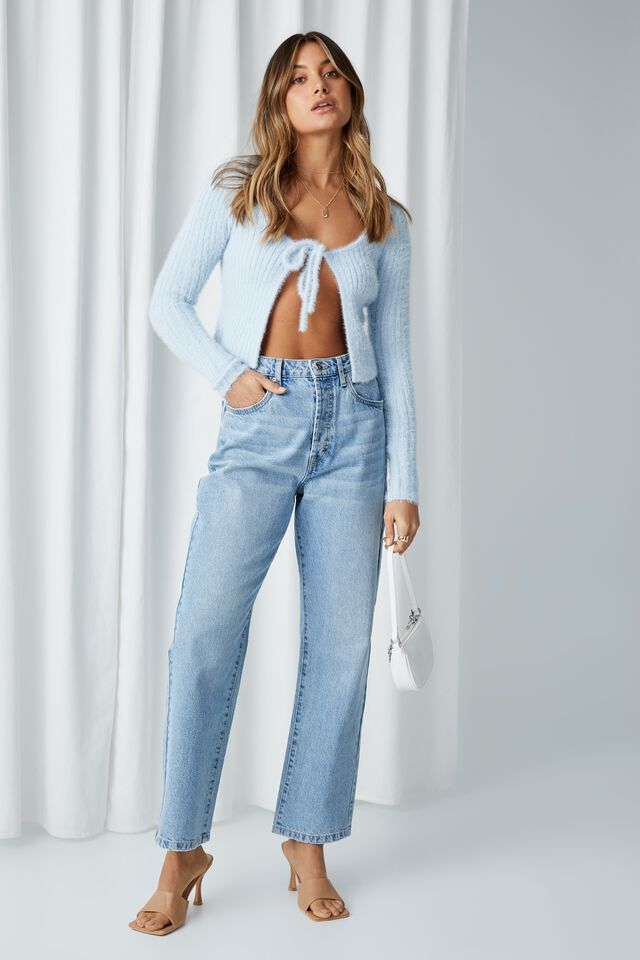 Adalyn Tie Front Knit Cardigan, SERENE BLUE