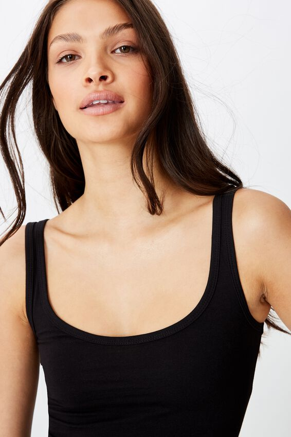 Basic Thick Strap Tank, BLACK