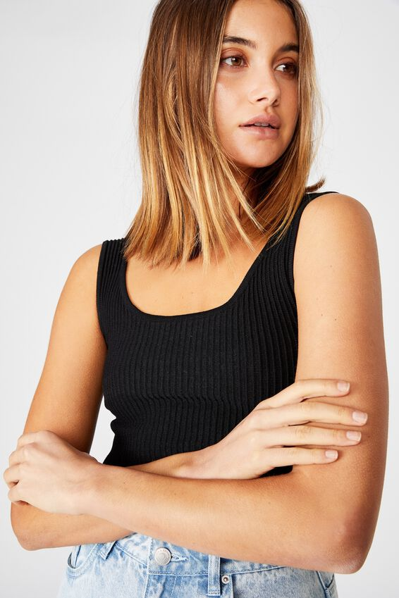 Mikaela Square Neck Knit Top, BLACK