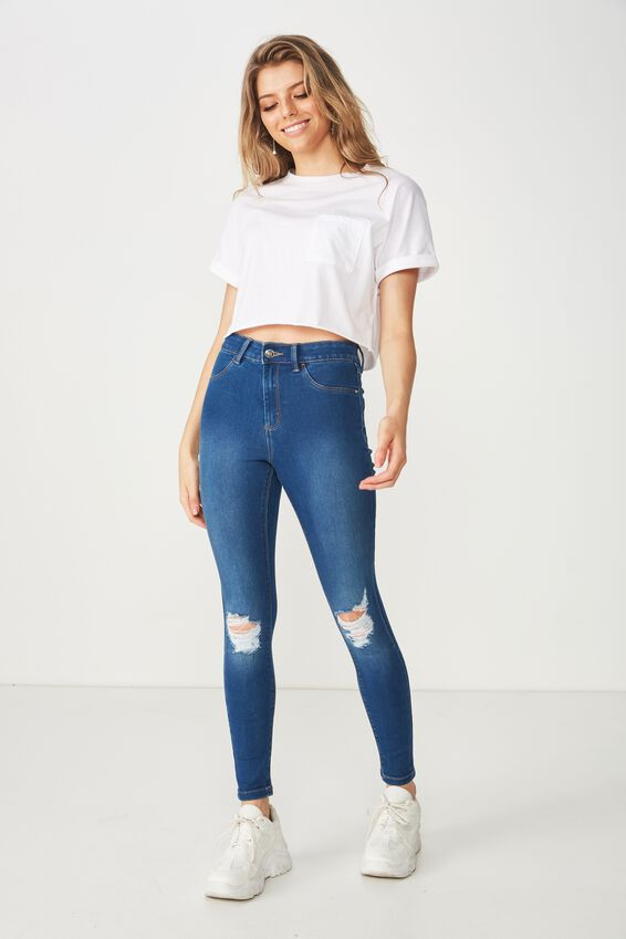 Super Skinny Ripped Jean, REBEL BLUE