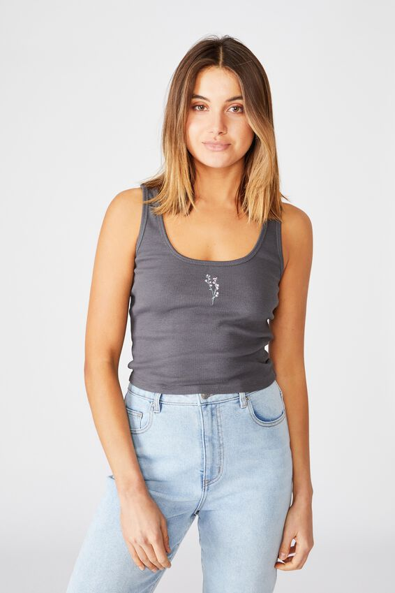 Michelle Graphic Fitted Tank, GRANITE GREY/FLOWER BUNCH