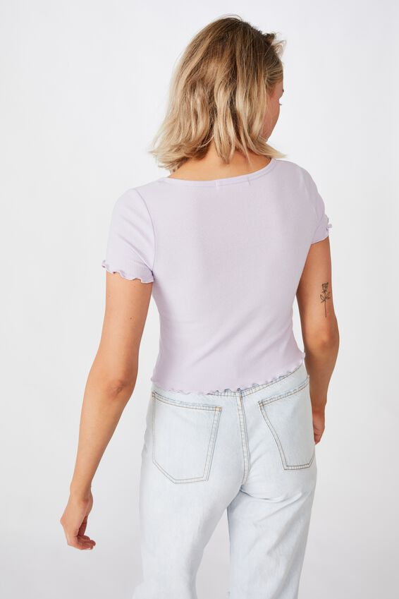 Bria Short Sleeve Button Up Tee, ORCHID LILAC