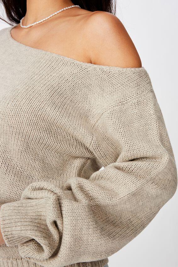 Texas Off Shoulder Knit, OATMEAL MARLE