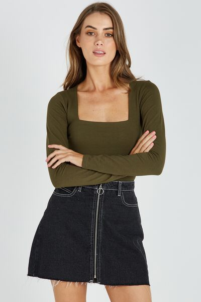 Basic Square Neck Crop Top, OLIVE NIGHT