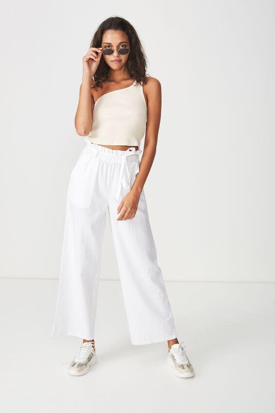 Luna Paperbag Waist Pant, WHITE