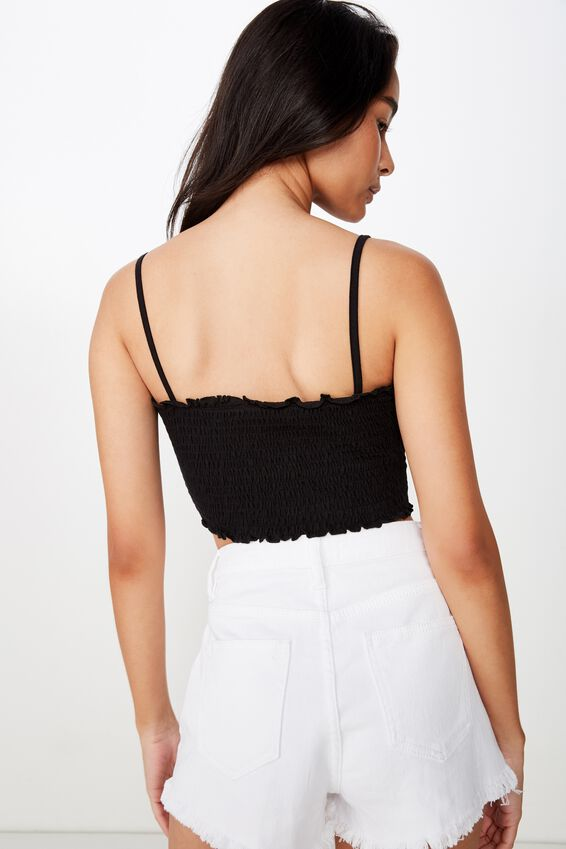 Hana Shirred Cami Top, BLACK