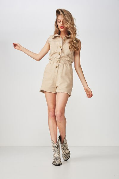 Utility Playsuit, BROWN SUGAR