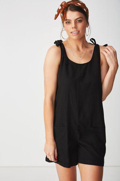 Lexi Tie Shoulder Linen Romper, BLACK