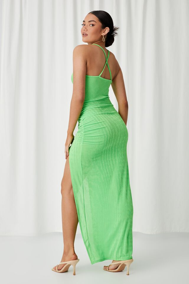 Ruched Chain Long Formal Dress, LIME GREEN