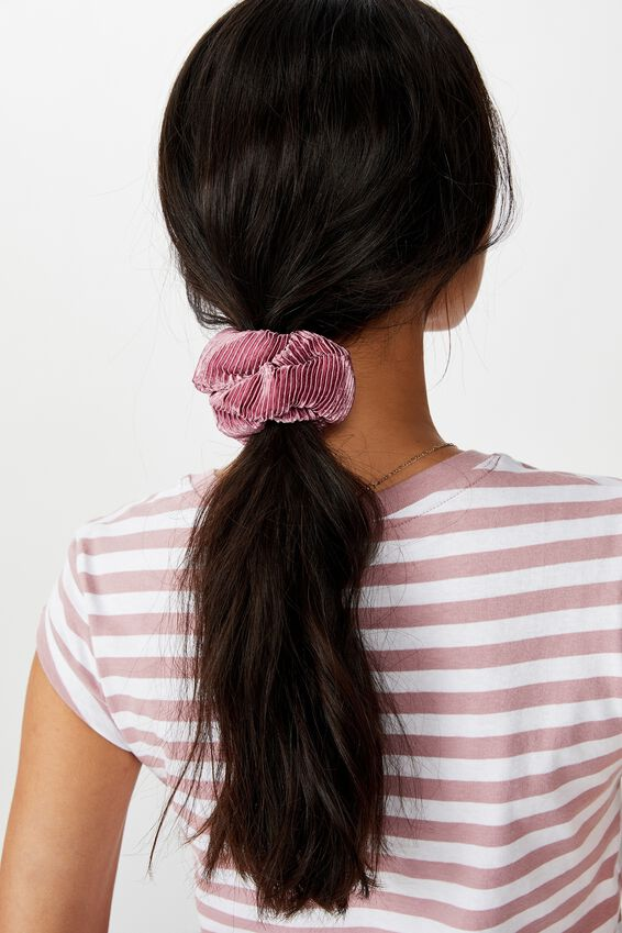 Plush Scrunchie, PLEATED ANTIQUE ROSE