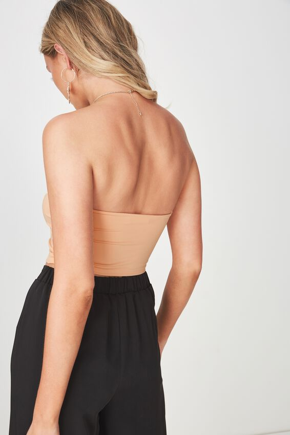 Party Strapless Crop Top, CHAMPAGNE PEACH