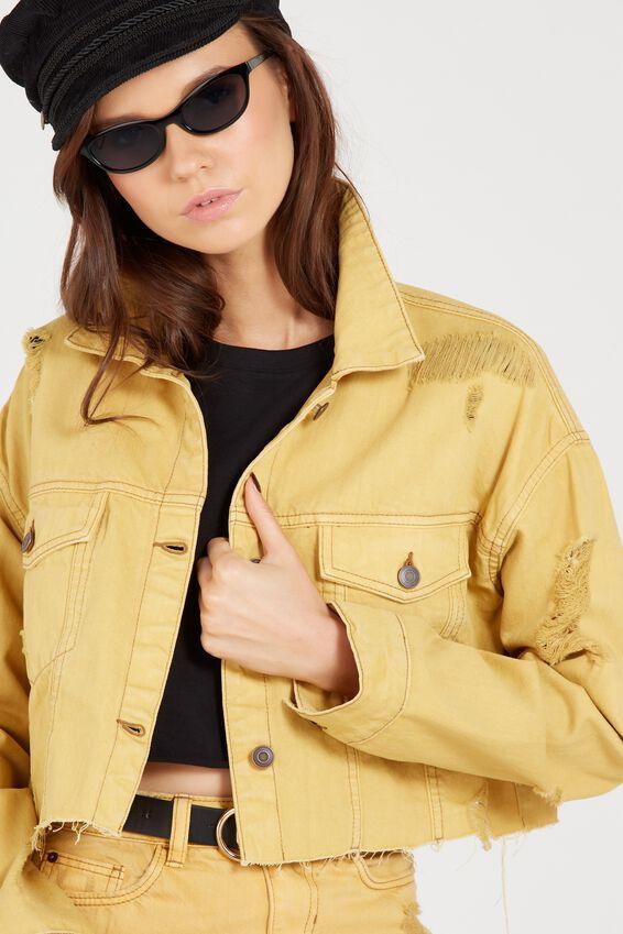 Cropped Destroy Denim Jacket | Tuggl