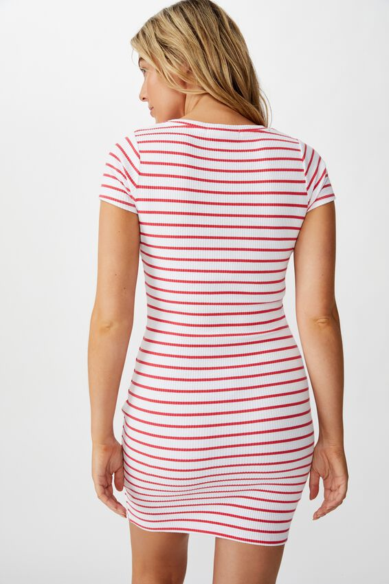 Lucia Rib Tee Mini Dress, HIBICUS RED/WHITE STRIPE