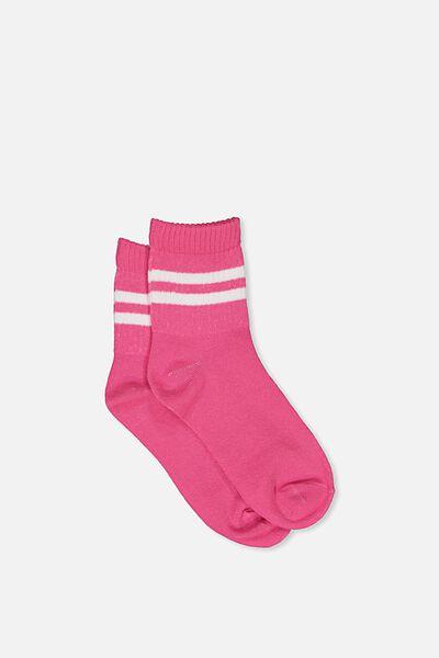90S Sporty Crew Socks, PINK