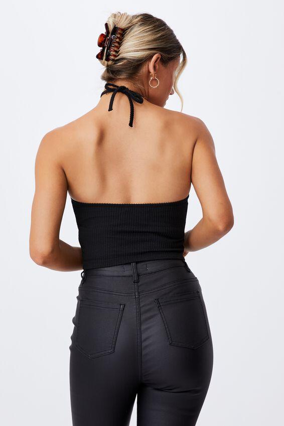 Jennifer Halter Cutout Top, BLACK