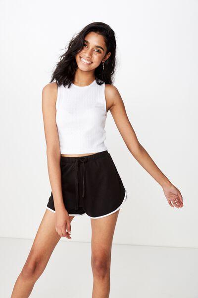 Emma Sweat Short, BLACK/WHITE