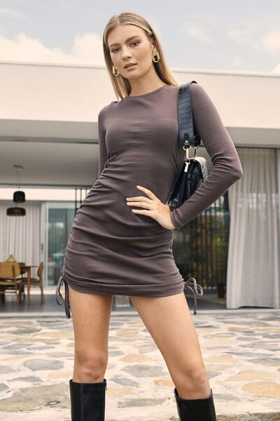 Frida Long Sleeve Mini Dress, CREAMY MOCHA
