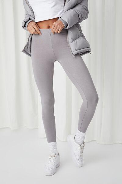 Basic Full Length Leggings, PEARL GREY