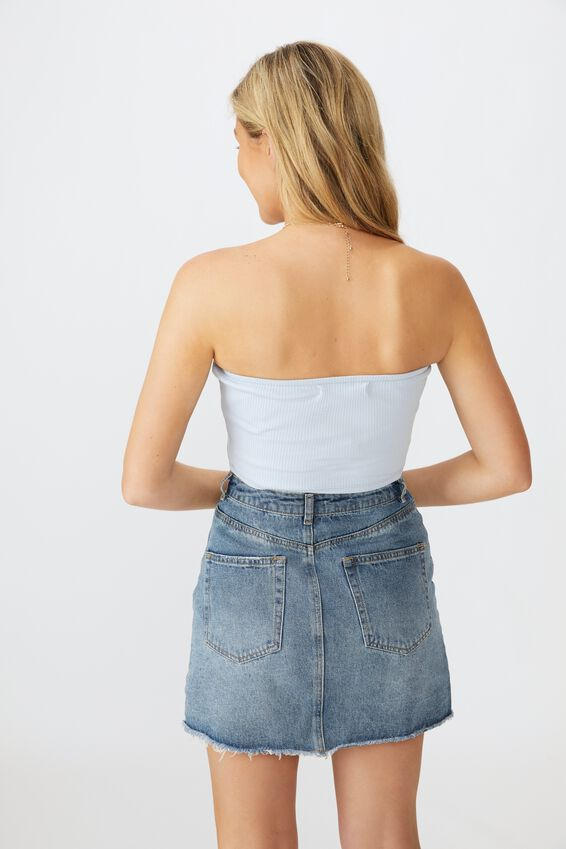 Sally Strapless Crop, ICE BLUE