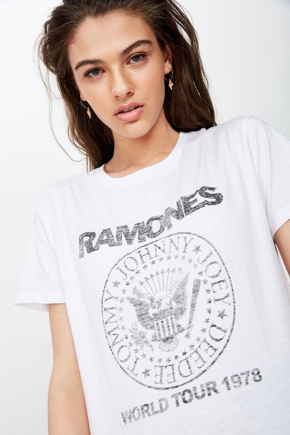 Kendall Printed T Shirt, WHITE RAMONES WORLD TOUR