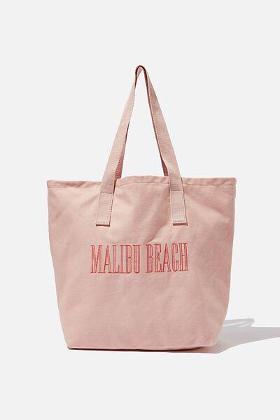 Canvas Tote Bag, PEACH MALIBU BEACH