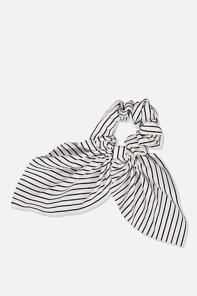 Scarf Scrunchie, WHITE/BLACK STRIPE