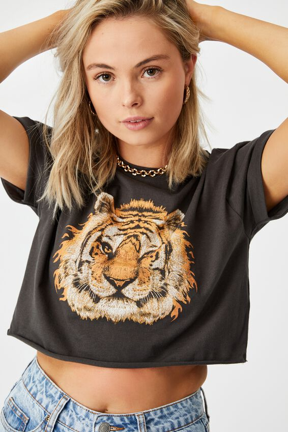 Tiger Crop Tee, PHANTOM/FLAME TIGER