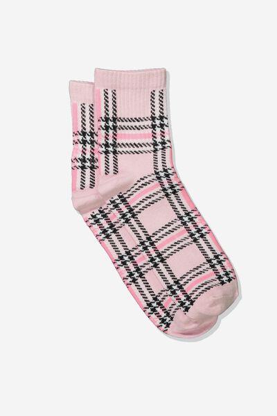 Check Socks, 90S PINK