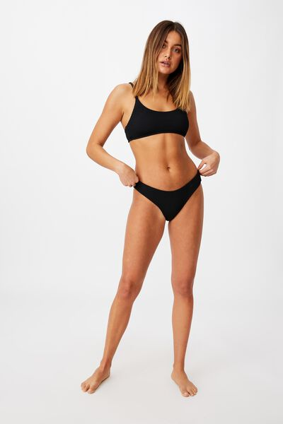 Miami Scoop Crop Bikini Top, BLACK/ CRINKLE