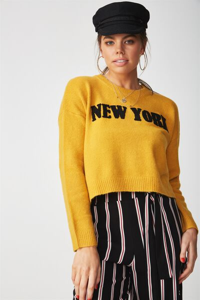 Cosy Graphic Knit Sweater, MUSTARD