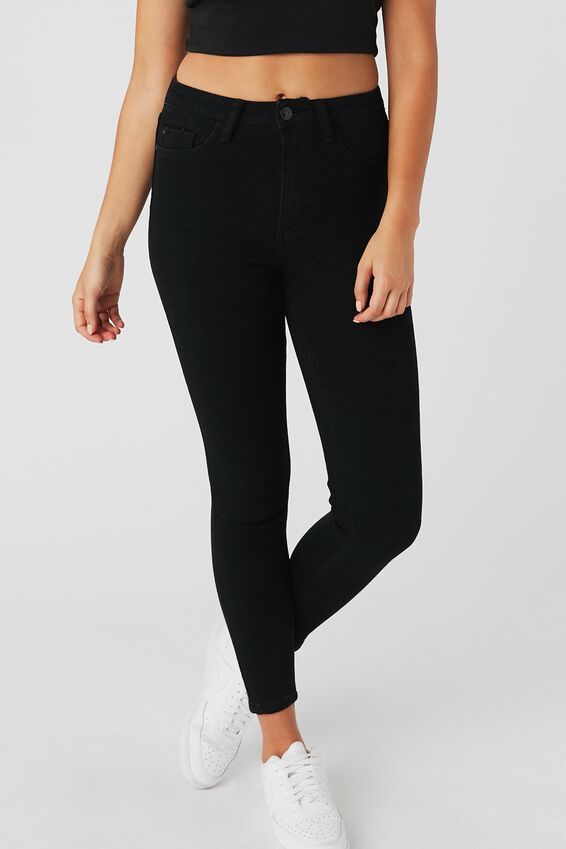 The Skinny Premium High Rise Jean, BLACK