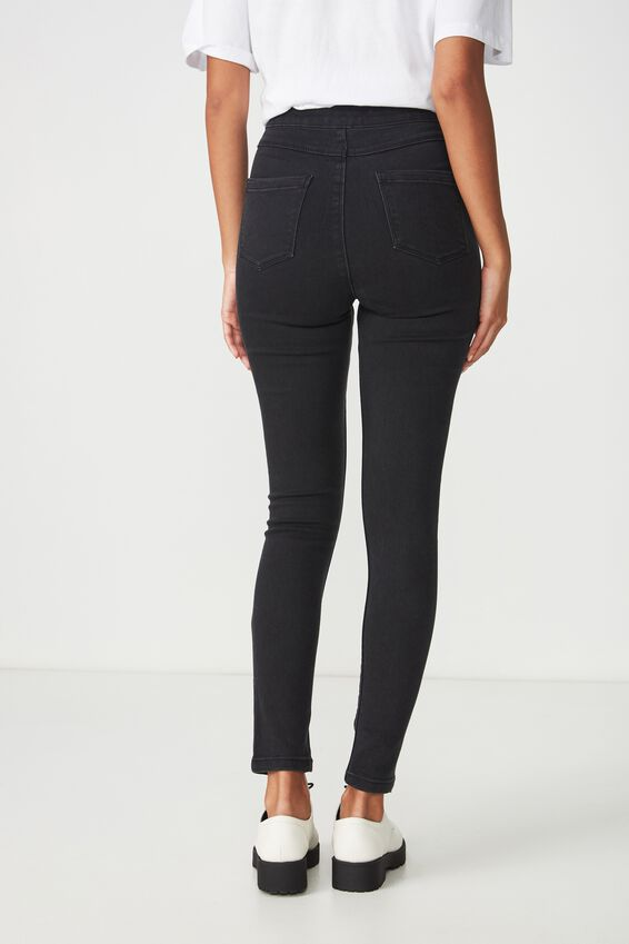 Super Skinny Sky High Ripped Jean, TRUE WASHED BLACK