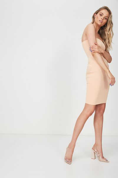 Party Strapless Midi Dress, CHAMPAGNE PEACH