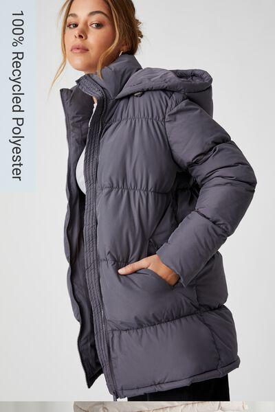 Joanne Mid Length Puffer Jacket, JET GREY