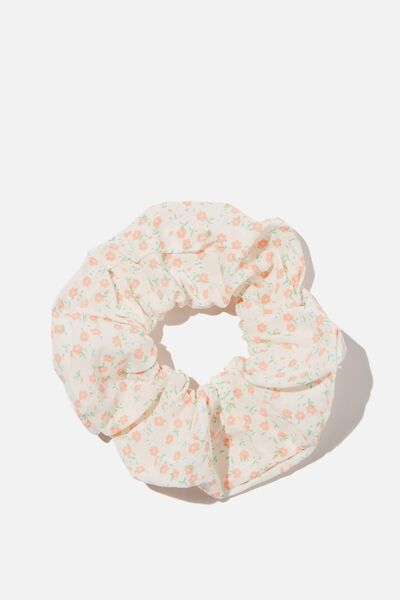 Floral Fields Scrunchie, WHITE/RED FLORAL