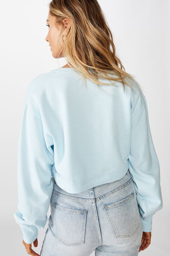 River Long Sleeve Crop Sweat, FRESH PALE BLUE