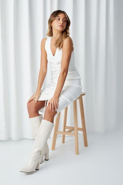 Jean Ruched Midi Dress, WINTER WHITE