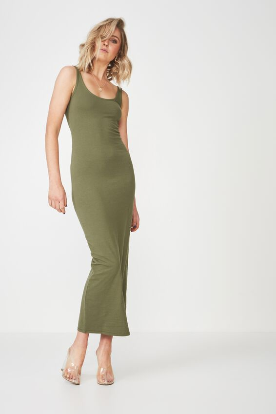 Basic Maxi Dress, KHAKI