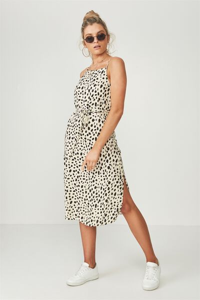 Phoenix Strappy Midi Dress, SNOW LEOPARD