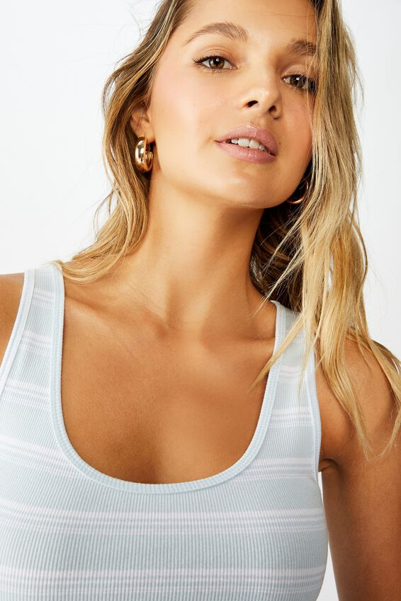 Kali Fitted Crop Tank, TULLY STRIPE (AIR BLUE/WHT)