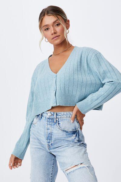 Ella Slouchy Crop Cardigan, PEACOCK BLUE