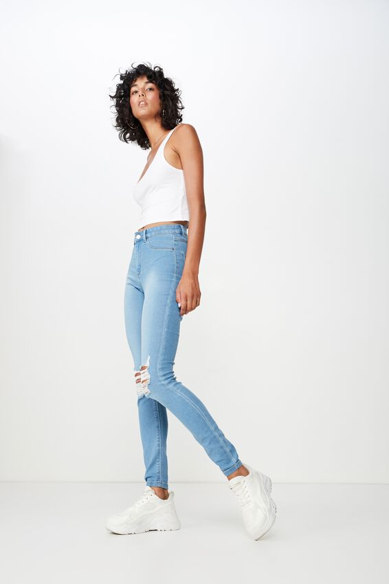 Long Super Skinny Ripped Jean, WAVE BLUE